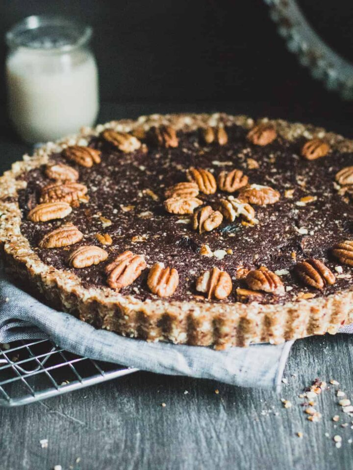 Pecan pie on a cooling rack