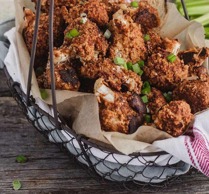 Food looking like Buffalo wings in a basket