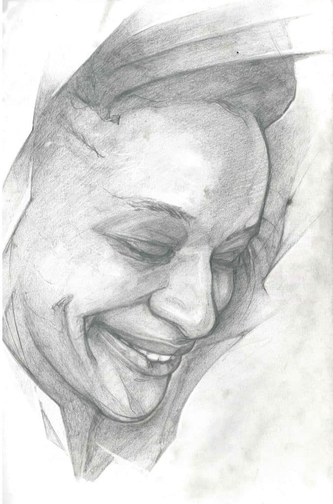 Charcoal portrait of a smiling face with eyes looking down