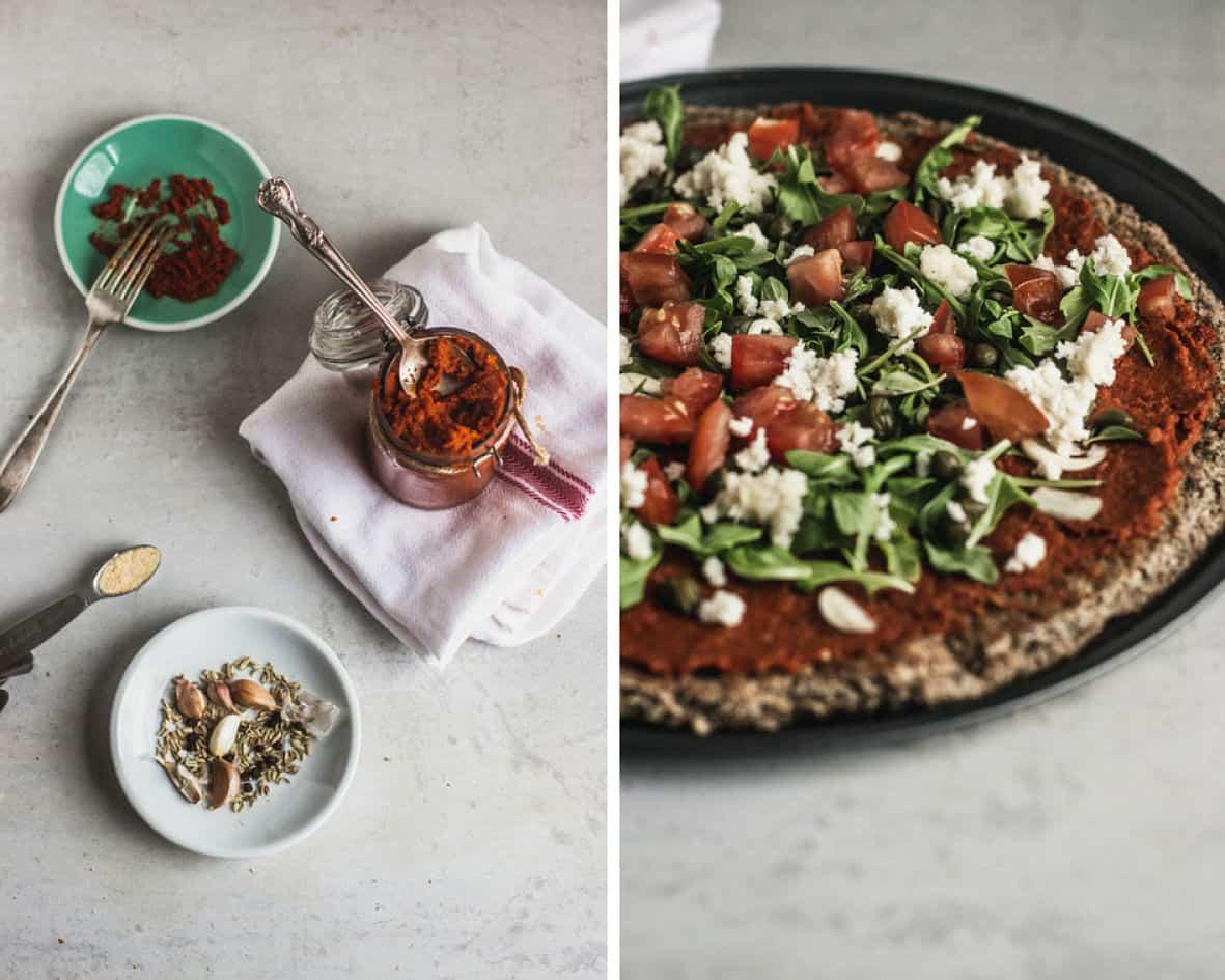 Photo côte à côte  de la sauce marinara dans un pot et la pizza garnie