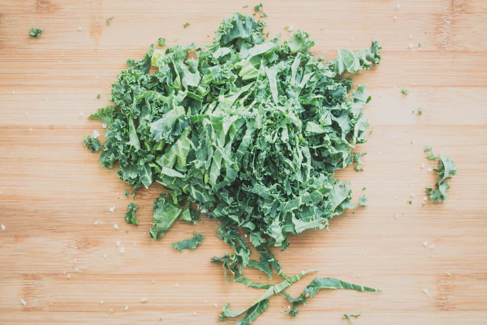 Top view of shredded kale