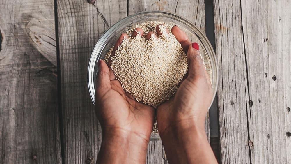 Grains de quinoa tenus dans les mains