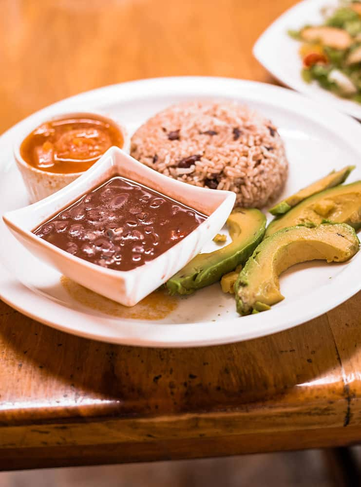 A plate of bean sauce iand tomato sauce in small bowls with caribbean rice in half a ball next to slices of avocado and Beans — Personalized Vegan Dish at Lidia's Place