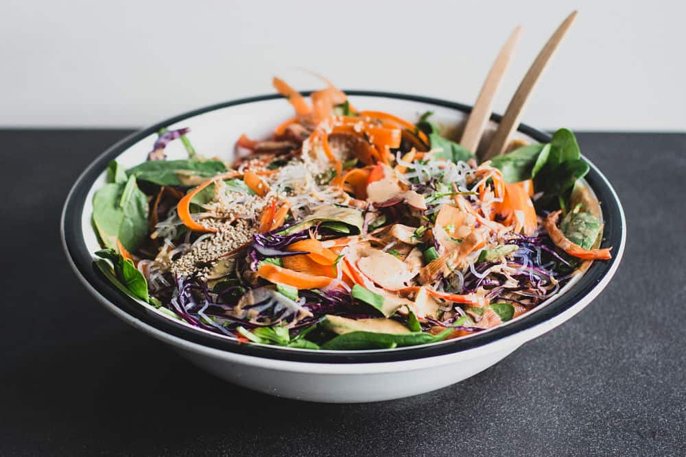 Thai salad in a big white bowl