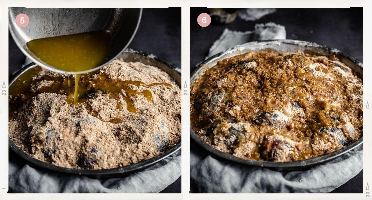 Montage de deux photos montrant comment faire la garniture du crumble aux prunes