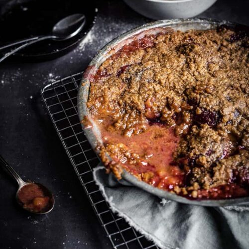 Prune crumble, slice taken off, with juices