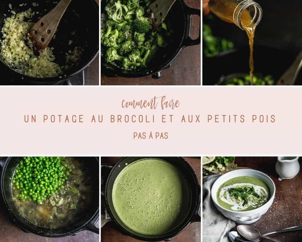 Montage de photos avec six photos montrant comment faire le potage aux brocoli et aux petits pois