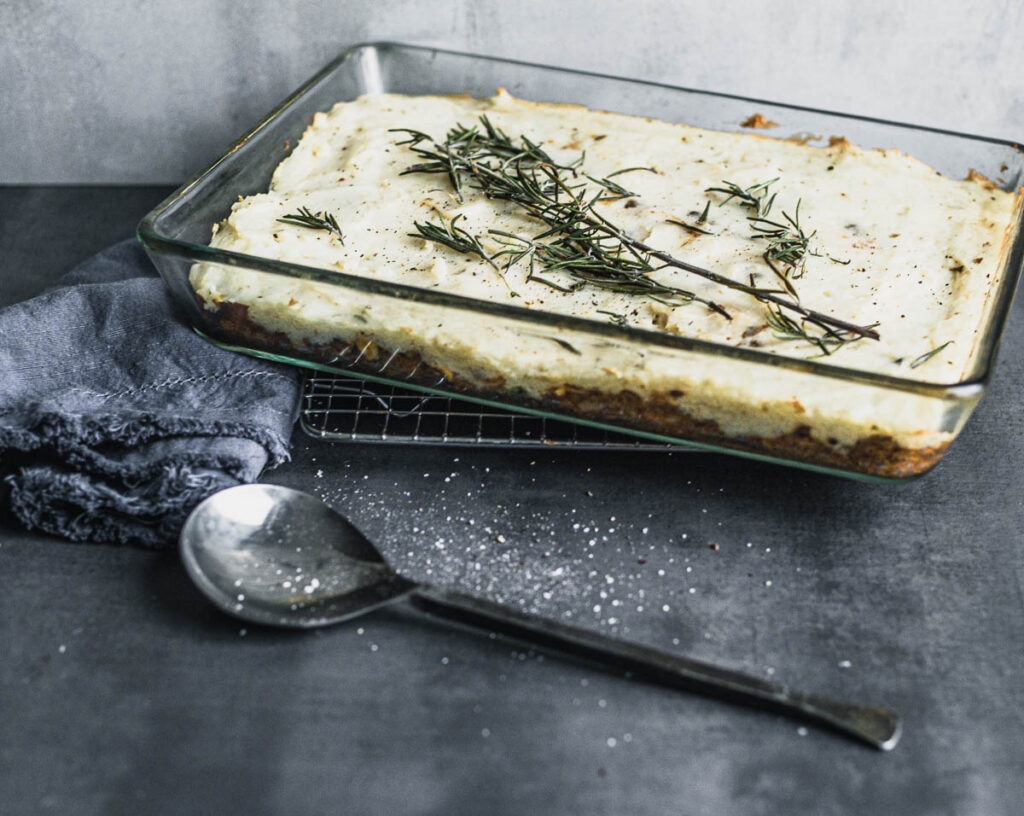 Lentil Cottage Pie in a glass baking dish