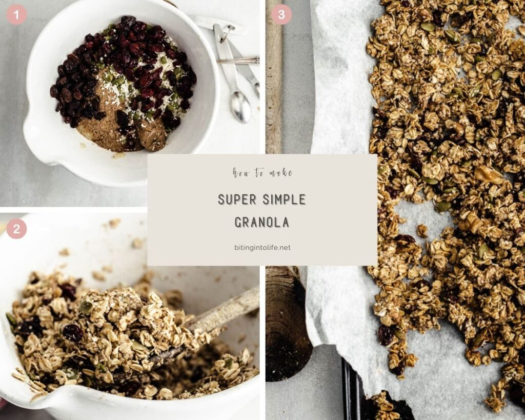 Montage of three photos showing the process of making granola: combining ingredients, mixing, and spreading out on the baking sheet lined with parchment paper