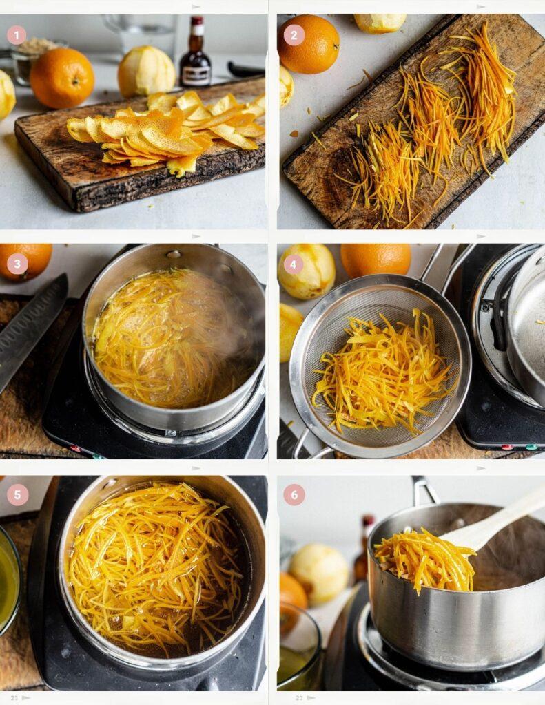 Montage montrant le processus étape par étape de fabrication du zeste d'orange confit