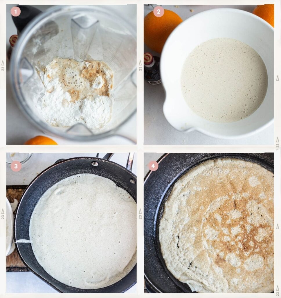 Montage of four photos showing the process of making the crepe Suzette batter step by step
