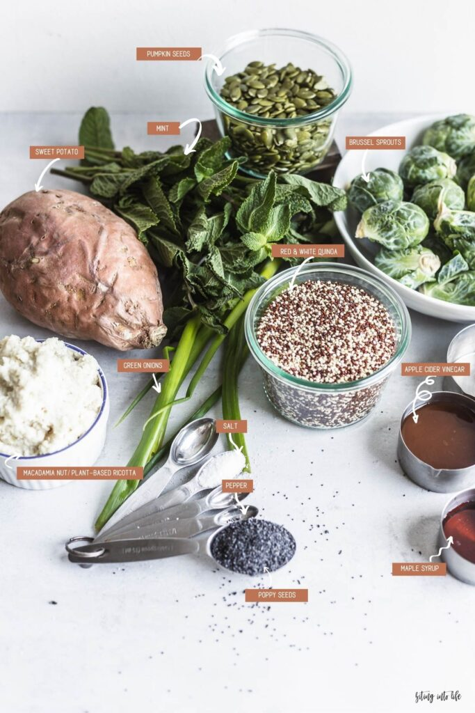 Ingredients for the Roasted Sweet Potato, Brussels Sprout, and Quinoa Salad