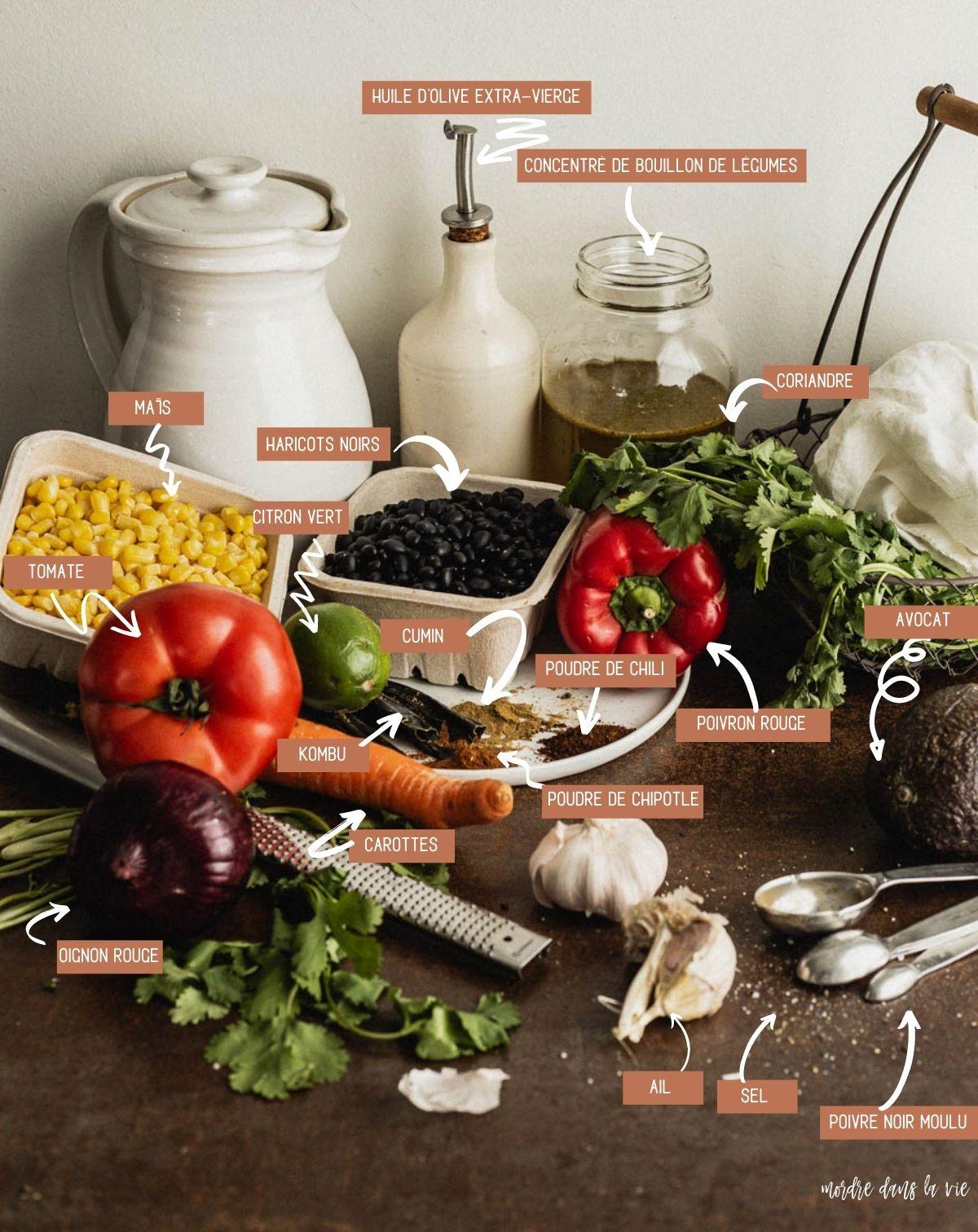 Ingrédients pour la soupe de haricots noirs (sens horaire) : maïs en grains dans un petit contenant en carton, haricots nois dans un petit contenant en carton, poivron rouge, huile d'olive extra-vierge dans son huilier, concentré de bouillon de légumes dans un pot Maçon, botte de coriandre dans un panier métallique, avocat, grains de sel et de poivre éparpillés sur la surface, gousses d'ail, poudre de chili, cumin mouu, chipotle, lamelles de kombu, citron vert, tomate et oignon rouge