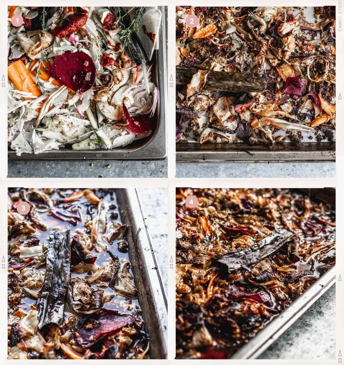 4-Step Photo Collage showing how roast the vegetables to make demi-glace
