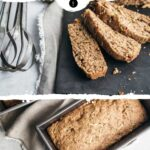 Photo collage with two images of vegan zucchini bread