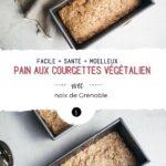 Montage de deux photos de pain aux courgettes végétalien