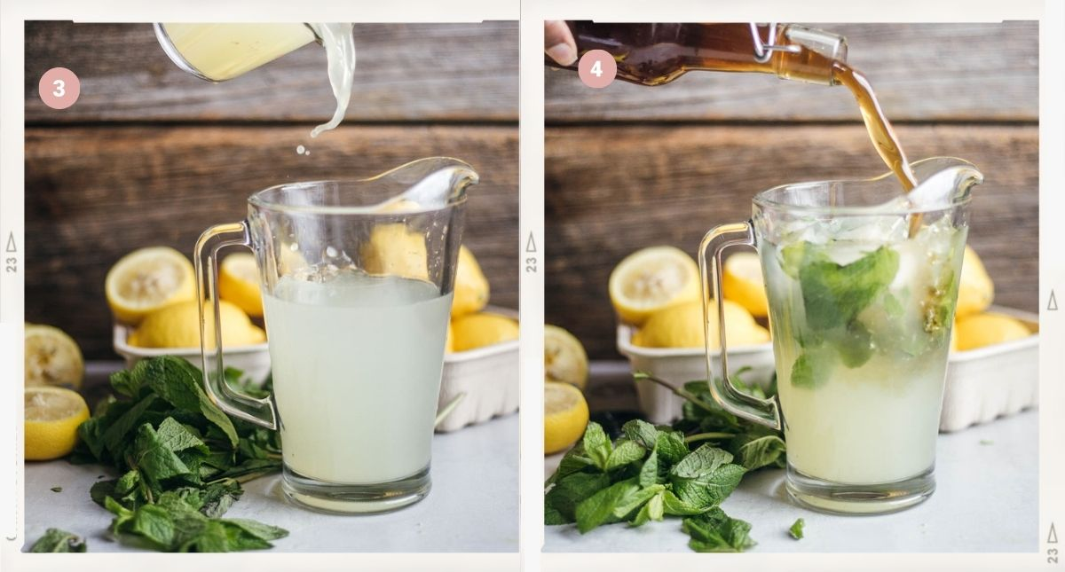 Montage of two photos showing how to make lemonade step by step