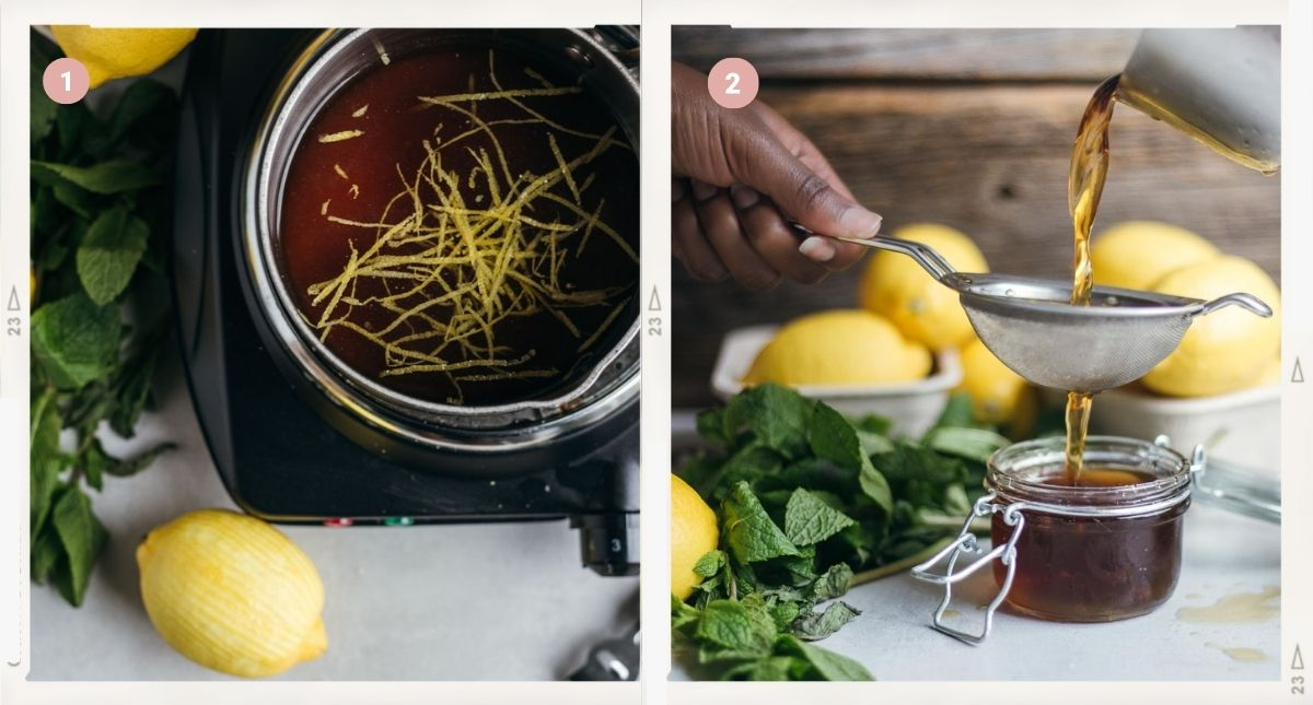 Montage of two photos showing how to make sugar syrup step by step