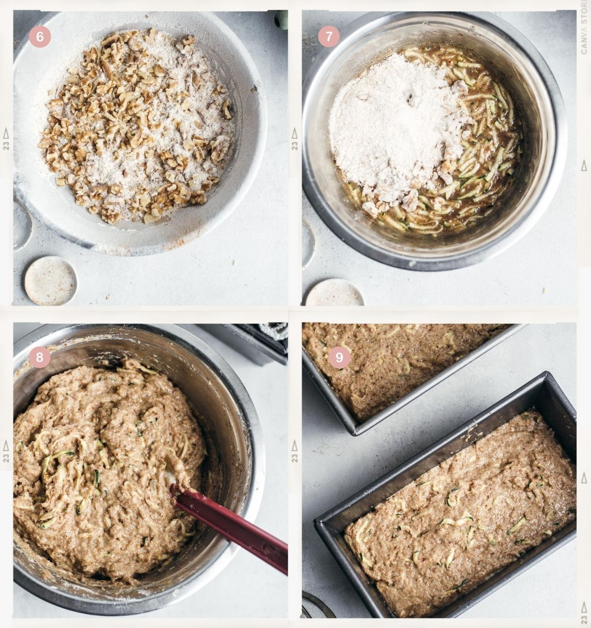 Collage of four photos showing the process of making vegan zucchini bread step by step