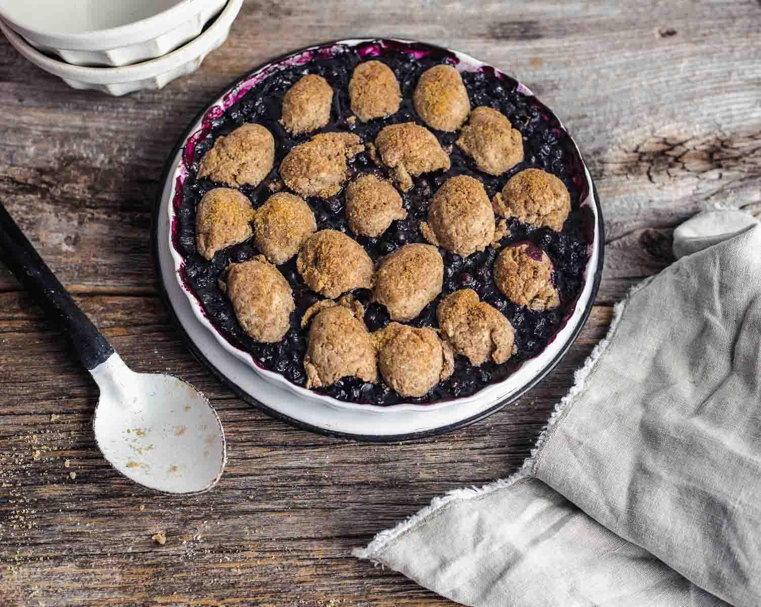Blueberry Cobbler in a tart pan