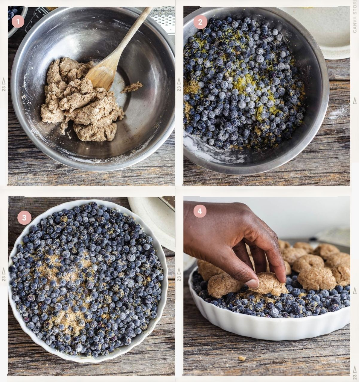 Four-step photo collage showing how to make vegan blueberry cobbler